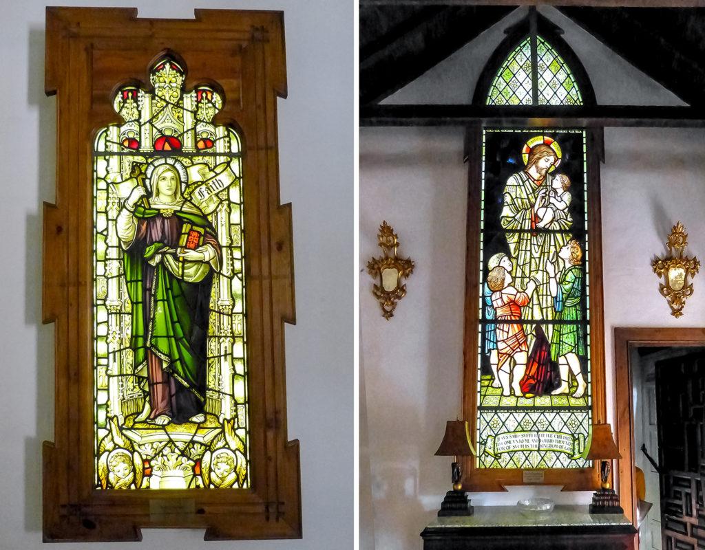 """Vidrieras William Morris : """"La fe"""" y """"Dejad que los niños se acerquen a mi"""""""